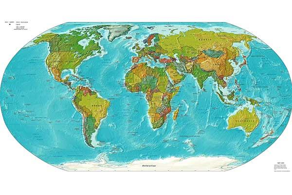 Mapamundi político miniatura