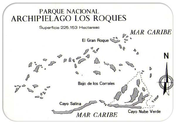 mapa archipielago de los roques