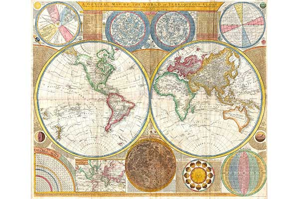 mapamundi antiguo vintage miniatura